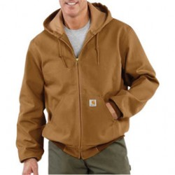 Carhartt - 35481190568 - Carhartt Large Tall Brown Polyester Thermal Lined 12 Ounce Heavy Weight Cotton Duck Active Jacket With Front Zipper Closure Triple-Stitched Seams (2) Large Hand-Warmer Pockets, (2) Inside Pockets And Attached Hood, ( Each )