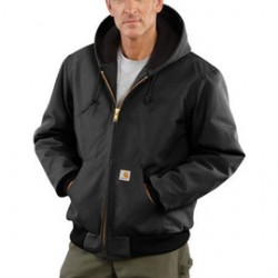 Carhartt - 35481215445 - Carhartt Small Regular Black Flannel Quilt Body Nylon Quilt Sleeves Lined 12 Ounce Heavy Weight Cotton Duck Active Jacket With Front Zipper Closure Triple-Stitched Seams (2) Lower Front Pockets And (2) Inside Pockets, ( Each )