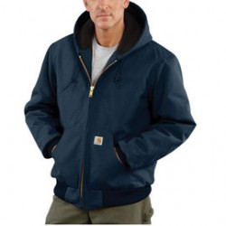 Carhartt - 35481387234 - Carhartt Medium Regular Dark Navy Flannel Quilt Body Nylon Quilt Sleeves Lined 12 Ounce Heavy Weight Cotton Duck Active Jacket With Front Zipper Closure Triple-Stitched Seams (2) Lower Front Pockets And (2) Inside Pockets, ( Each