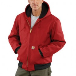 Carhartt - 35481199264 - Carhartt Large Regular Red Flannel Quilt Body Nylon Quilt Sleeves Lined 12 Ounce Heavy Weight Cotton Duck Active Jacket With Front Zipper Closure Triple-Stitched Seams (2) Lower Front Pockets And (2) Inside Pockets, ( Each )