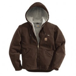 Carhartt - 35481315541 - Carhartt Large Tall Dark Brown Sherpa Body Nylon Quilt Sleeves Lined 12 Ounce Cotton Duck Sandstone Sierra Jacket With Front Zipper, Hook And Loop Closure Triple-Stitched Seams (2) Front Welt Pockets, Left Chest Zipper Pocket,