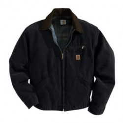 Carhartt - 35481648175 - Carhartt Medium Regular Black Blanket Body Nylon Quilt Sleeves Lined 12 Ounce Cotton Duck Sandstone Detroit Jacket With Front Zipper Closure Triple-Stitched Seams (2) Lower Front Pockets, Inside Welt Pocket And Left-Chest Pocket,