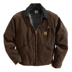 Carhartt - 35481312281 - Carhartt Large Regular Dark Brown Blanket Body Nylon Quilt Sleeves Lined 12 Ounce Cotton Duck Sandstone Detroit Jacket With Front Zipper Closure Triple-Stitched Seams (2) Lower Front Pockets, Inside Welt Pocket And Left-Chest