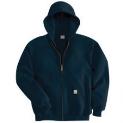 Carhartt - 35481975011 - Carhartt Large Regular New Navy Fleece Lined 10.5 Ounce Medium Weight Cotton Polyester Hooded Sweatshirt With Front Zipper Closure Front Hand-Warmer Pockets, Attached Hood With Adjustable Drawstring, Rib-Knit Cuffs And Waist Band,