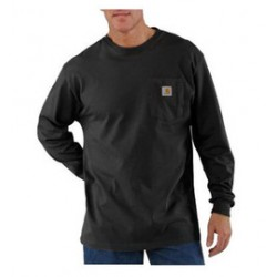 Carhartt - 35481107757 - Carhartt Medium Regular Black 6.75 Ounce Cotton Jersey Long Sleeve T Shirt With, ( Each )