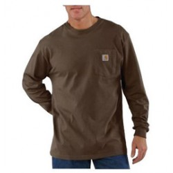 Carhartt - 35481968105 - Carhartt Large Regular Dark Brown 6.75 Ounce Cotton Jersey Long Sleeve T Shirt With, ( Each )