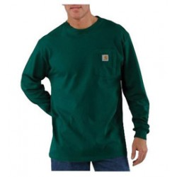 Carhartt - 35481398407 - Carhartt Small X Regular Hunter Green 6.75 Ounce Cotton Jersey Long Sleeve T Shirt With, ( Each )