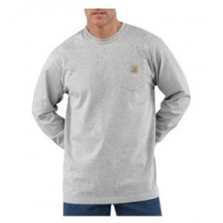 Carhartt - 35481484759 - Carhartt Size 3X Tall Heather Gray 6.75 Ounce Cotton Jersey Long Sleeve T Shirt With, ( Each )