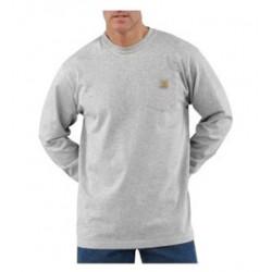 Carhartt - 35481481284 - Carhartt Large Tall Heather Gray 6.75 Ounce Cotton Jersey Long Sleeve T Shirt With, ( Each )