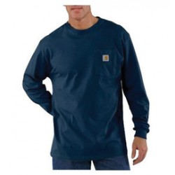 Carhartt - 35481107870 - Carhartt Medium Regular Navy 6.75 Ounce Cotton Jersey Long Sleeve T Shirt With, ( Each )