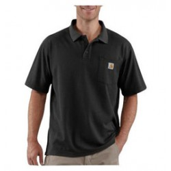 Carhartt - 35481935480 - Carhartt Size 4X Regular Black 6 Ounce Cotton Blend Short Sleeve Polo Shirt With Button Closure And Left Chest Contractor's Work Pocket And Silo, ( Each )