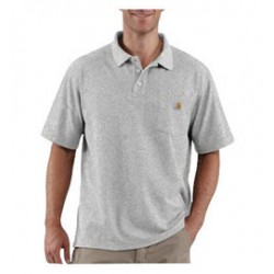 Carhartt - 35481935558 - Carhartt Large Regular Heather Gray 6 Ounce Cotton Blend Short Sleeve Polo Shirt With Button Closure And Left Chest Contractor's Work Pocket And Silo, ( Each )