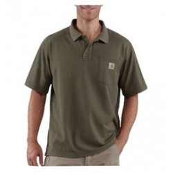 Carhartt - 35481935664 - Carhartt Large Regular Moss 6 Ounce Cotton Blend Short Sleeve Polo Shirt With Button Closure And Left Chest Contractor's Work Pocket And Silo, ( Each )