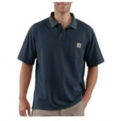Carhartt - 35481935770 - Carhartt Large Regular Navy 6 Ounce Cotton Blend Short Sleeve Polo Shirt With Button Closure And Left Chest Contractor's Work Pocket And Silo, ( Each )