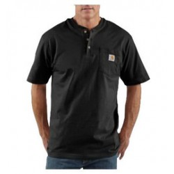 Carhartt - 35481531293 - Carhartt Size 3X Tall Black 6.75 Ounce Medium Weight Jersey Short Sleeve Henley Shirt With Button Closure And Left Chest Pocket, ( Each )