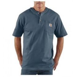 Carhartt - 35481622304 - Carhartt Large Regular Bluestone 6.75 Ounce Medium Weight Jersey Short Sleeve Henley Shirt With Button Closure And Left Chest Pocket, ( Each )