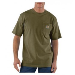 Carhartt - 35481755095 - Carhartt Size 3X Regular Army Green 6.75 Ounce Medium Weight Jersey Short Sleeve T Shirt With Left Chest Pocket, ( Each )