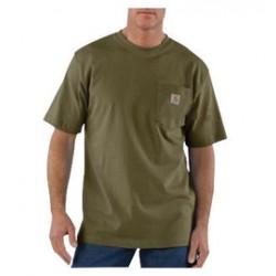 Carhartt - 35481755088 - Carhartt Small X Regular Army Green 6.75 Ounce Medium Weight Jersey Short Sleeve T Shirt With Left Chest Pocket, ( Each )