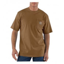 Carhartt - 35481408519 - Carhartt Size 3X Tall Brown 6.75 Ounce Medium Weight Jersey Short Sleeve T Shirt With Left Chest Pocket, ( Each )