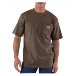 Carhartt - 35481937521 - Carhartt Small X Regular Dark Brown 6.75 Ounce Medium Weight Jersey Short Sleeve T Shirt With Left Chest Pocket, ( Each )