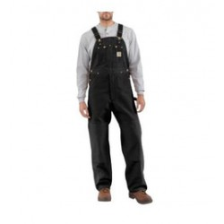 "Carhartt - 35481211669 - Carhartt Size 32"" X 28"" Black 12 Ounce Medium Weight Cotton Duck Zip to Waist Bib Overalls With Buckles Closure And Two Chest Pockets With Zipper Closure, ( Each )"