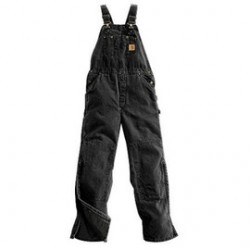 "Carhartt - 35481396274 - Carhartt 38"" X 32"" Black Nylon Quilt Lined 12 Ounce Heavy Weight Cotton Duck Sandstone Bib Overalls With Zip-Knee Leg Openings With a Protective Wind Flaps Closure Triple-Stitched Seams (2) Quarter Top Pockets, (2)"