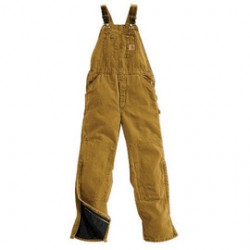 "Carhartt - 35481830693 - Carhartt 42"" X 34"" Brown Nylon Quilt Lined 12 Ounce Heavy Weight Cotton Duck Sandstone Bib Overalls With Zip-Knee Leg Openings With a Protective Wind Flaps Closure Triple-Stitched Seams (2) Quarter Top Pockets, (2)"