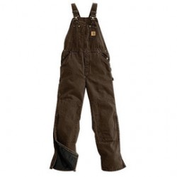 """Carhartt - 35481395581 - Carhartt 38"""" X 30"""" Dark Brown Nylon Quilt Lined 12 Ounce Heavy Weight Cotton Duck Sandstone Bib Overalls With Zip-Knee Leg Openings With a Protective Wind Flaps Closure Triple-Stitched Seams (2) Quarter Top Pockets, (2)"""