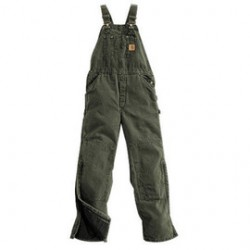 """Carhartt - 35481188510 - Carhartt 34"""" X 32"""" Moss Nylon Quilt Lined 12 Ounce Heavy Weight Cotton Duck Sandstone Bib Overalls With Zip-Knee Leg Openings With a Protective Wind Flaps Closure Triple-Stitched Seams (2) Quarter Top Pockets, (2)"""