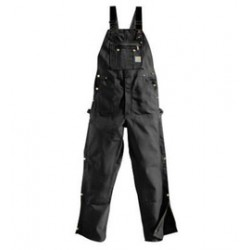 """Carhartt - 35481331732 - Carhartt Size 42"""" X 32"""" Black 12 Ounce Cotton Duck Zip-To-Thigh Bib Overalls With Buckle Closure, Long-wearing, chap-style double-front construction with cleanout bottoms that can accommodate knee pads And Metal rivets"""
