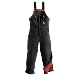 """Carhartt - 35481260032 - Carhartt 42"""" X 28"""" Black Nylon Quilt Lined 12 Ounce Heavy Weight Cotton Duck Zip-To-Waist Bib Overalls With Open To Waist Leg Zippers With Protective Wind Flaps And Snap Closures Closure Triple-Stitched Seams (2) Chest"""