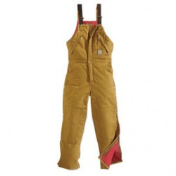 """Carhartt - 35481217470 - Carhartt 32"""" X 32"""" Brown Nylon Quilt Lined 12 Ounce Heavy Weight Cotton Duck Zip-To-Waist Bib Overalls With Open To Waist Leg Zippers With Protective Wind Flaps And Snap Closures Closure Triple-Stitched Seams (2) Chest"""