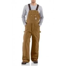 """Carhartt - 35481405013 - Carhartt 32"""" X 36"""" Carhartt Brown Nylon Quilt Lined 12 Ounce Cotton Duck Bib Overalls With Ankle To Thigh Leg Zipper With Protective Wind Flap Closure, ( Each )"""