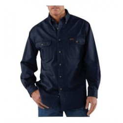 Carhartt - 35481233821 - Carhartt Large Tall Midnight 8.3 Ounce Twill Long Sleeve Micro-sanded Shirt With Button Closure And Shoulder Pleats, ( Each )