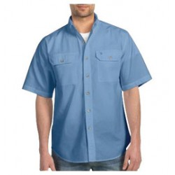 Carhartt - 35481748653 - Carhartt Medium Regular Blue Chambray 4.8 Ounce Chambray Short Sleeve Shirt With Button Closure And Two Chest Pockets With Mitered Flaps And Button Closures, ( Each )
