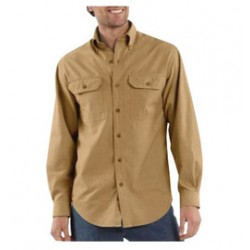 Carhartt - 35481840036 - Carhartt X-Large Regular Dark Tan Chambray 4.8 Ounce Chambray Long Sleeve Shirt With Button Closure And Two Chest Pockets With Mitered Flaps And Button Closures, ( Each )