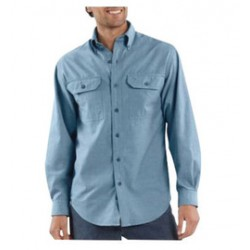 Carhartt - 35481749124 - Carhartt Size 2X Regular Blue Chambray 4.8 Ounce Chambray Long Sleeve Shirt With Button Closure And Two Chest Pockets With Mitered Flaps And Button Closures, ( Each )
