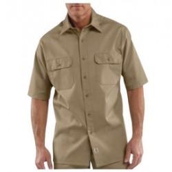Carhartt - 35481774751 - Carhartt Size 3X Tall Khaki 5.5 Ounce Twill Short Sleeve Shirt With Button Closure, ( Each )