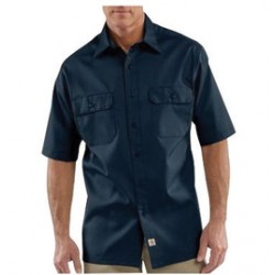 Carhartt - 35481774768 - Carhartt Large Regular Navy 5.5 Ounce Twill Short Sleeve Shirt With Button Closure, ( Each )