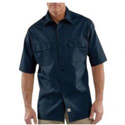 Carhartt - 35481774843 - Carhartt X-Large Tall Navy 5.5 Ounce Twill Short Sleeve Shirt With Button Closure, ( Each )
