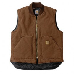 Carhartt - 35481830990 - Carhartt Medium Regular Brown Nylon Quilt Lined 12 Ounce Heavy Weight Cotton Duck Sandstone Arctic Vest With Front Zipper With Inside Wind Flaps, Hook And Loop Closure (2) Lower Front Pockets And Inside Pockets, ( Each )