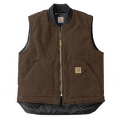 Carhartt - 35481313981 - Carhartt Large Regular Dark Brown Nylon Quilt Lined 12 Ounce Heavy Weight Cotton Duck Sandstone Arctic Vest With Front Zipper With Inside Wind Flaps, Hook And Loop Closure (2) Lower Front Pockets And Inside Pockets, ( Each )