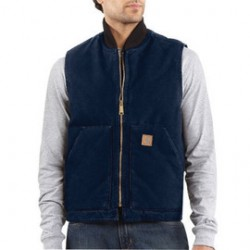 Carhartt - 35481232466 - Carhartt Large Regular Midnight Nylon Quilt Lined 12 Ounce Heavy Weight Cotton Duck Sandstone Arctic Vest With Front Zipper With Inside Wind Flaps, Hook And Loop Closure (2) Lower Front Pockets And Inside Pockets, ( Each )