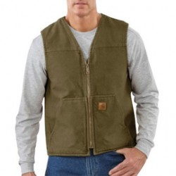 Carhartt - 35481581311 - Carhartt Large Regular Dark Brown Sherpa Lined 12 Ounce Cotton Duck Sandstone Rugged Vest With Front Zipper Closure (2) Lower Front Pockets And (2) Inside Pockets, ( Each )