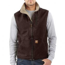 Carhartt - 35481594564 - Carhartt 2X Regular Dark Brown Sherpa Lined 12 Ounce Heavy Weight Cotton Duck Sandstone Mock-Neck Vest With Front Zipper Closure (2) Lower Front Pockets, (2) Inside Pockets And Map Pocket, ( Each )