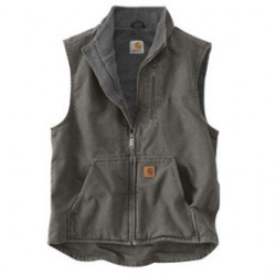 Carhartt - 35481760570 - Carhartt Large Regular Gravel Sherpa Lined 12 Ounce Heavy Weight Cotton Duck Sandstone Mock-Neck Vest With Front Zipper Closure (2) Lower Front Pockets, (2) Inside Pockets And Map Pocket, ( Each )
