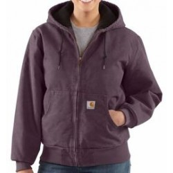 Carhartt - 35481184970 - Carhartt X-Large Dusty Plum Active 12 Ounce Cotton Duck Sandstone Flannel-Lined Jacket With Front Zipper Closure And Ribbed Cuffs/Bottom Band, ( Each )