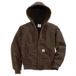 Carhartt - 35481665530 - Carhartt Women's Medium Regular Dark Brown Flannel Quilt Lined 12 Ounce Cotton Duck Sandstone Active Jacket Triple-Stitched Seams Deep Pockets For Extra Storage, ( Each )
