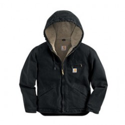 Carhartt - 35481573972 - Carhartt Women's X-Large Regular Black Sherpa Lined 12 Ounce Cotton Duck Sandstone Sierra Jacket Triple-Stitched Princess Back Seams (2) Inside Pockets, Rib-Knit Storm Cuffs, Three-Piece Sherpa-Lined Hood And Dropped Tail, ( Each