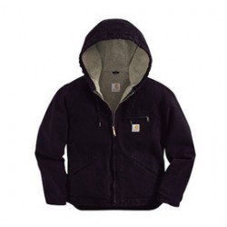 Carhartt - 35481666704 - Carhartt Women's Large Regular Deep Wine Sherpa Lined 12 Ounce Cotton Duck Sandstone Sierra Jacket Triple-Stitched Princess Back Seams (2) Inside Pockets, Rib-Knit Storm Cuffs, Three-Piece Sherpa-Lined Hood And Dropped Tail, (